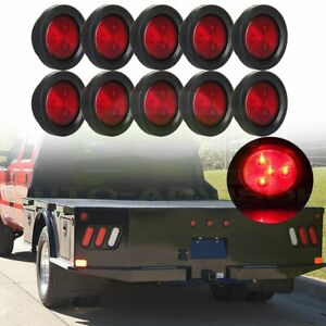 10 Red 2 5 Round Side Marker Clearance Lamp For Truck Trailer Rv Waterproof