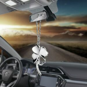 Car Pendant Metal Lucky Four Leaf Clover Auto Rear View Mirror Hang Decoration S