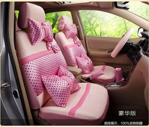 20 Piece Ice Silk Baby Pink Polka Dot Bow Car Seat Covers
