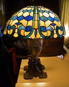Antique Classical Urn Griffin Motif Lamp Base W 20 Stained Glass Shade