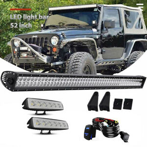 52 Inch Led Light Bar 4 Pods brackets wiring Kit For Jeep Wrangler Jk 07 18
