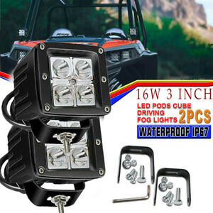 3x3 Square Clear Flush Mount 18w Led Cubic Pod Lights For Truck Atv Off Road
