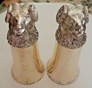 2 Vtg Metal Silver Plate Ram S Head Aries Stirrup Cups Goblets 6 6 Oz
