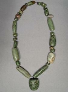 Ancient Pre Columbian Mayan Maya Jade Stone Necklace With Pendent 500 950 Ad