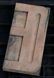 Oe Huge 9 84 Letter Wood Type Printing Block Rare Letterpress Woodtype