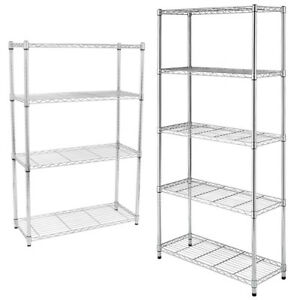 4 5 Tier Metal Storage Shelves Chrome Plated Steel Wire Iron Shelf Storage Rack