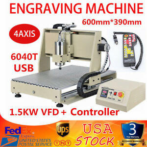 1 5kw 4axis Usb Cnc 6040 Router Engraver Engraving Milling Machine Metal Carving
