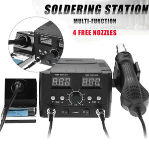 750w Digital Soldering Desoldering Iron Station Hot Air Gun Solder Rework Smd