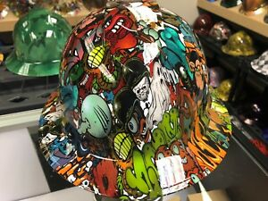 New Full Brim Hard Hat Custom Hydro Dipped Sticker Bomb Free Shipping