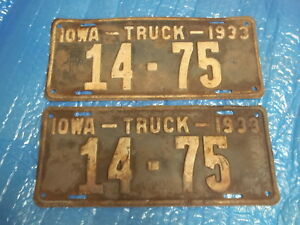 1933 Iowa Truck License Plates Rat Rod Patina Pair Carroll Co Ford Chevy Dodge
