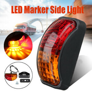 12v 24v 2 Led Red Amber Side Marker Lights Lamp Trailer Truck Lorry Caravan Van
