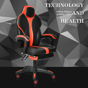 High Back Executive Office Chair Ergonomic Swivel Computer Desk Recliner Black