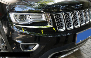 Chrome Front Head Light Lamp Eyelid Cover Trim For Jeep Grand Cherokee 2014 2016
