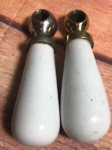 Vintage Metal Porcelain Unmarked Water Faucet Pair 3 Handle Lever Sink 9a
