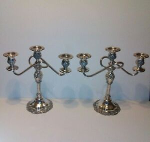 Pair Of Silver Plated Standing Candelabra In Pristine Condition See Pics