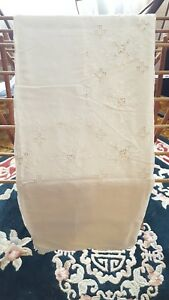 Antique Vintage Fancy Linen Lace Cut Work Hand Sewn Tablecloth 64 X 102
