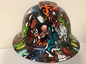 New Full Brim Hard Hat Custom Hydro Dipped Sticker Bomb Graffiti