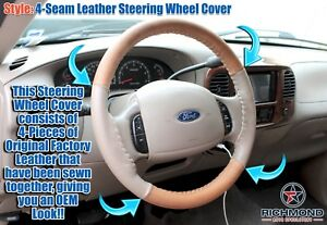 03 07 Ford F250 King Ranch 4 seam Leather Steering Wheel Cover W needle