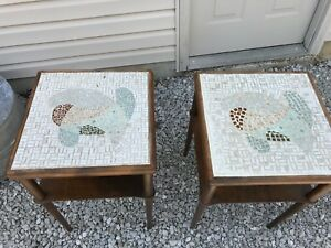 2 Vintage Mid Century Modern Mosaic Tile Top End Table Tables Furniture