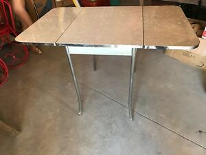 Vintage 50 60 S Howell Gray White Swirl Drop Leaf Formica Table Furniture Chrome