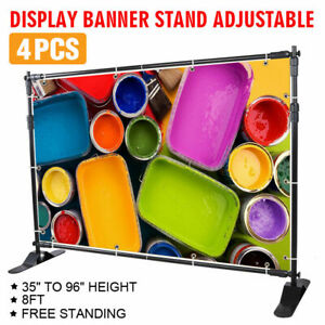 4 8 X 8 Adjustable Banner Stand Reuseable Telescopic Trade Show Wall
