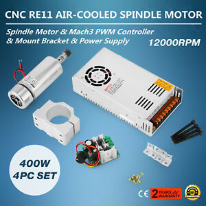Cnc 400w Brushed Spindle Motor 4pcs Set Controller Device Mount Great Good