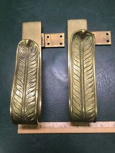 Pair Of Antique Heavy Brass Curtain Tie Backs Leaf Feather Brackets