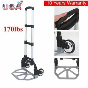 170lbs Aluminium Cart Folding Dolly Push Truck Hand Collapsible Trolley Luggage