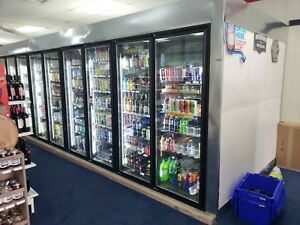 40 w X 8 d X 8 h Walk In Convenience Store Cooler 15 Door
