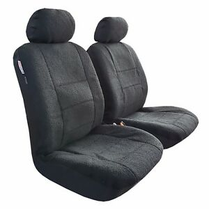 2pcs Pack Sheepskin Plush Velour All Black Car Seat Covers For Frontier Patrol