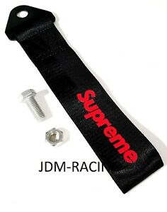 Jdm Supreme Racing Universal Front Rear Tow Strap Tow Hook Ribbon Black Red