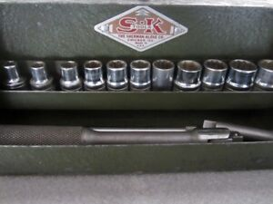 Vintage S k Tools 1 4 Drive Sae Socket Set Case Sherman klove 4098 Usa