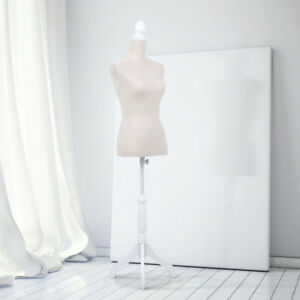Female Mannequin Dress Body Form Beige W Simple Cover Tripod Wooden Base G9s3