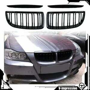 Pair Gloss Black Double Line Kidney Grill Grille For Bmw E90 E91 320i 335i Sedan