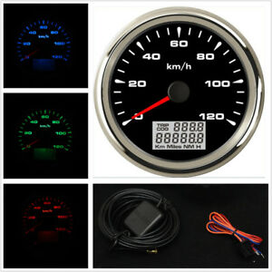 8 Colors Backlit Car Suv Gps Speedometers Odometer 0 120 Mph Km H 85mm Universal