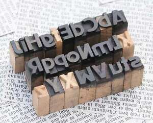 A z Mixed Alphabet 0 43 Letterpress Wooden Printing Blocks Wood Type Vintage