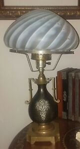 Versace Medusa Converted Antique Oil Lamp Glass Shade Brass Pewter Bronze