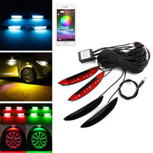 4x Rgb Car Led Auto Wheel Well Neon Glow Lights Fender Lamps Phone App Control