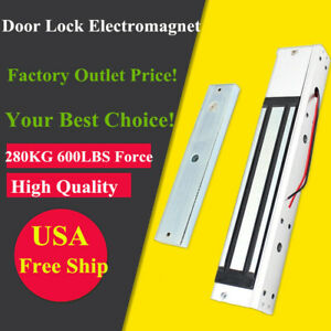 Pro Electric Magnetic Door Lock 600 Lbs Holding Force Entry Access Security Top