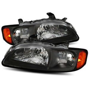 For 2000 2001 2002 2003 Nissan Sentra Black Factory Style Crystal Headlights Set