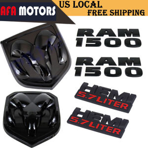 Matte Black Dodge Ram 1500 Grill Tailgate Side Hemi 3d Emblem Badge 6pcs New