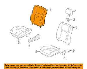 Honda Oem 1996 Civic Front Seat cushion Cover top Back Right 81121s02a11zb