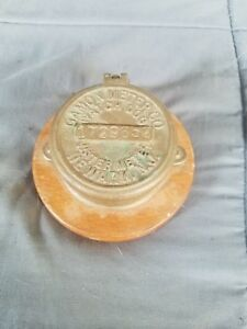 Vintage Antique Brass Water Meter Worthington Gamon Newark Nj Cover Steampunk