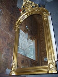 Antique Victorian Figure Head Tall Pier Mirror Gold Guilt 55 Inch High 30 Wide