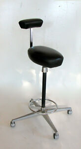 George Nelson By Herman Miller Vtg Perch Black Faux Leather Stool Mid century