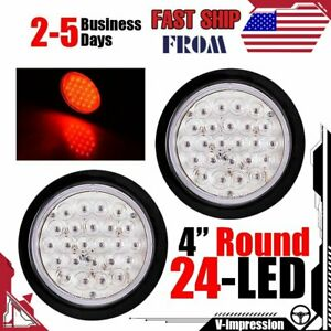 2x 24 Led 4 Inch Red Round Stop Brake Clearance Lens Tail Light Truck Trailer