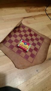 Vintage Good Earth Leather Checkerboard Mat With Checkers