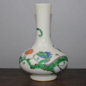 Chinese Old Marked Doucai Colored Dragon And Lotus Pattern Porcelain Vase