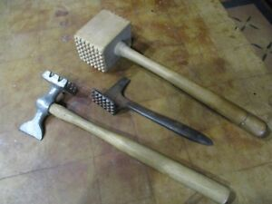 Antique Lot Of Three Meat Tenderizers