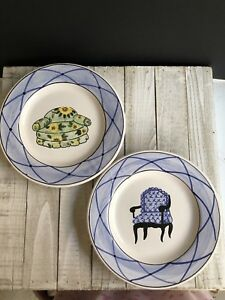 Two Matching Casafina Hand Painted Chair Plates Decorative Portugal 7 75